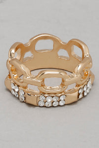 Gold Rhinestone Embellished Rings (Set of 7)