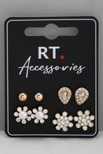 Load image into Gallery viewer, Gold Rhinestone Stud Earrings With Push Back Closure (Set of 4)