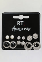 Load image into Gallery viewer, Silver Rhinestone Stud Earrings (Set of 6)