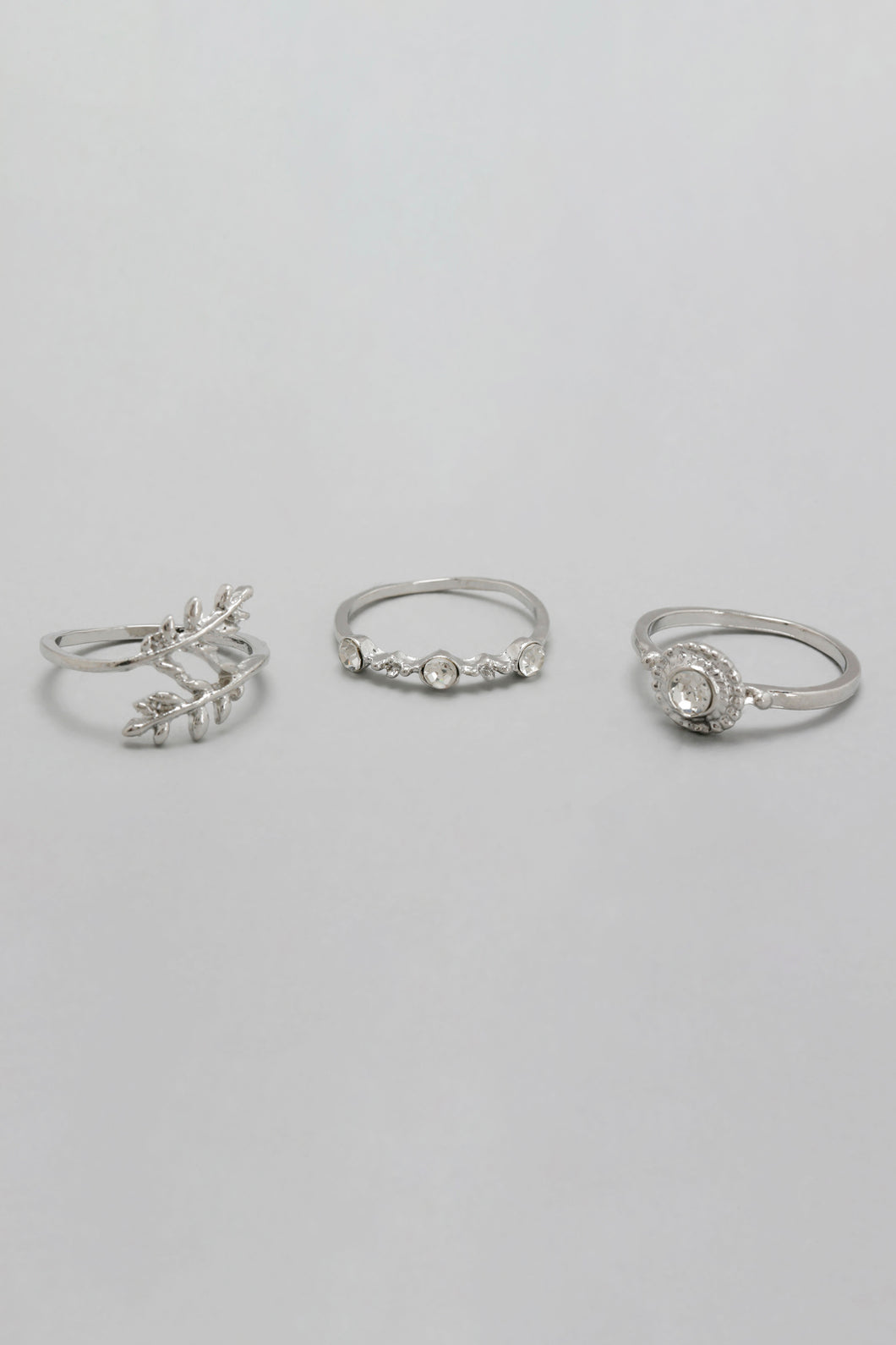 Silver Rhinestone Rings (Set of 3)