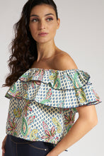 Load image into Gallery viewer, Multicolour Printed Ruffle Bardot Blouse
