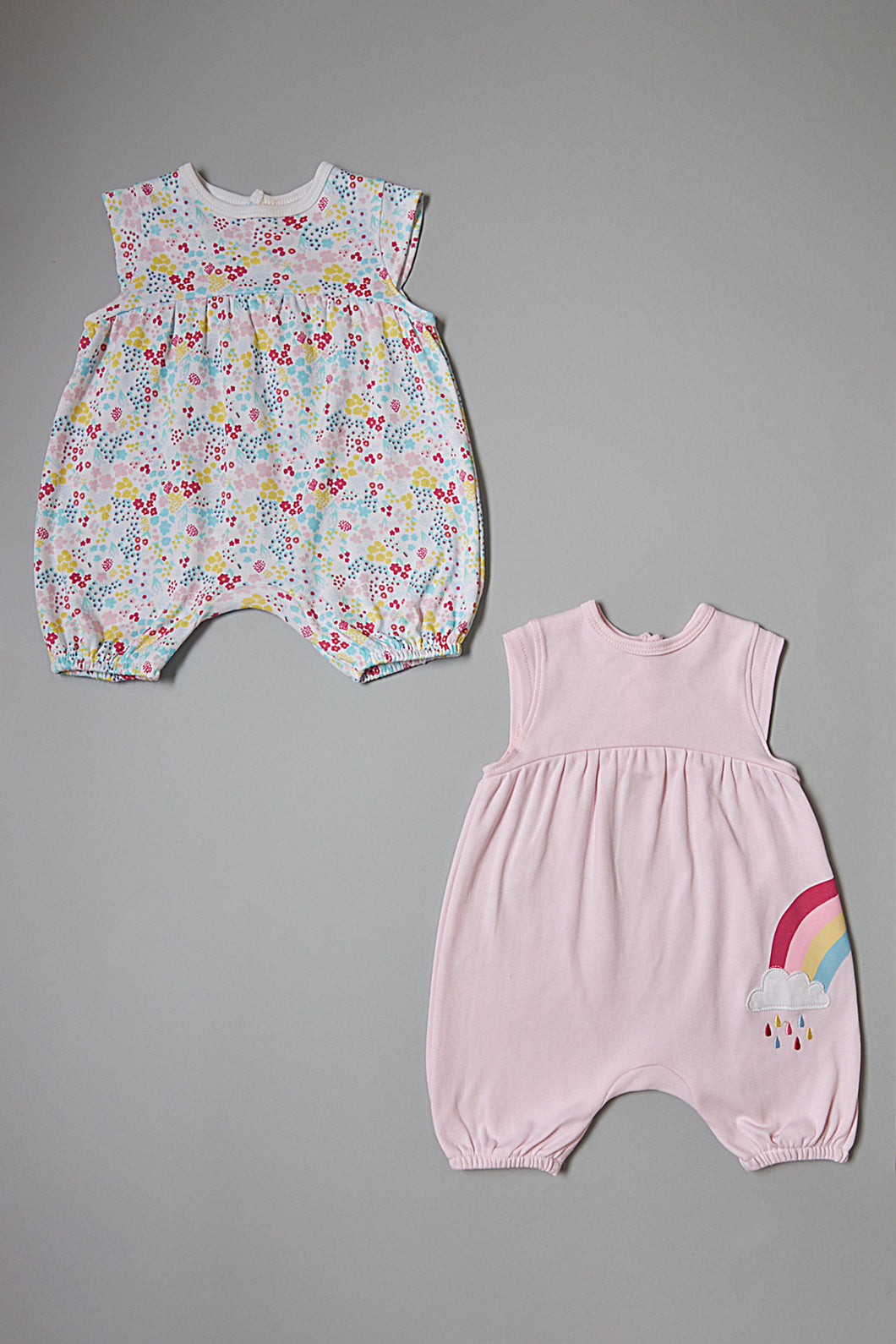 Pink And White Floral Rompers (2 Pack)