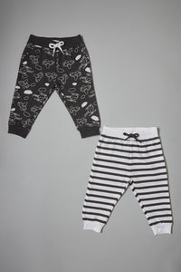 White/Charcoal Print And Stripe Track Pants (2-Pack)