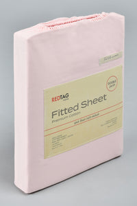 Pink 100% Cotton Fitted Sheet (Double Size)