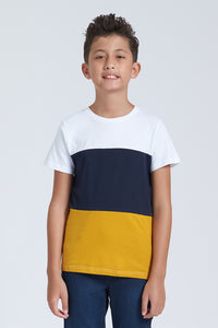 Navy And Mustard Colour Block T-Shirt