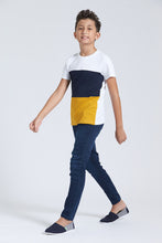 Load image into Gallery viewer, Navy And Mustard Colour Block T-Shirt