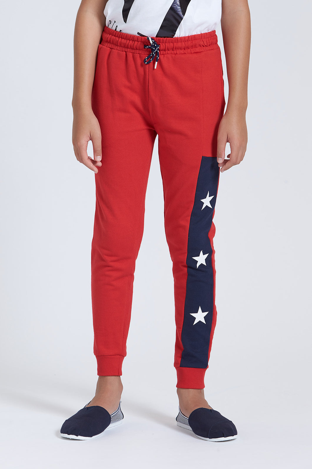 Red Star Print Track Pant