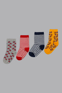 Assorted Jacquard Design Socks (4-Pack)