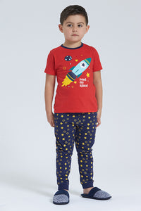 Red/Blue Need My Space Print Pyjama Set