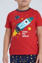 Load image into Gallery viewer, Red/Blue Need My Space Print Pyjama Set