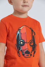 Load image into Gallery viewer, Orange/Black Robot Print Pyjama Set