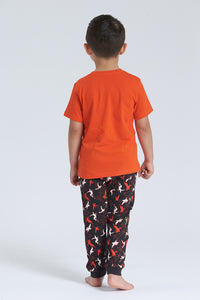 Orange/Black Robot Print Pyjama Set