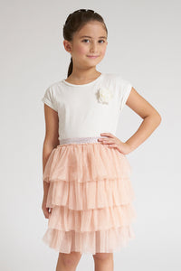 White T-Shirt And Pink Skirt Set