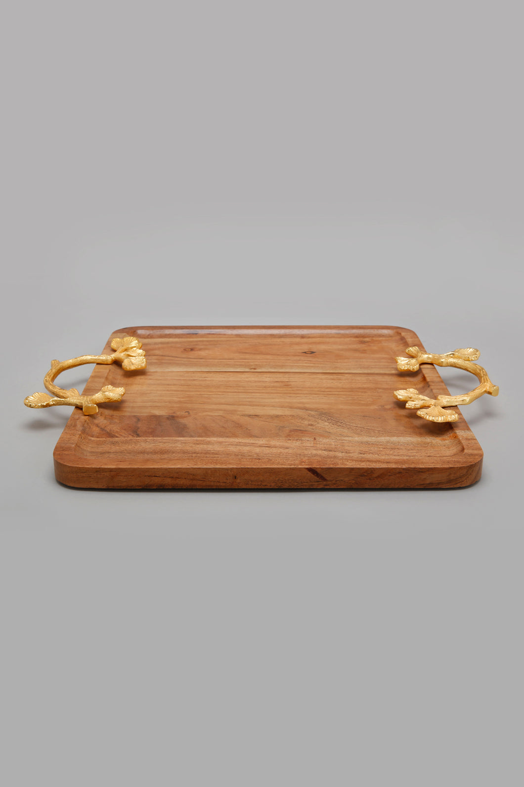 Brown Square Acacia Wooden Tray With Gold Handle
