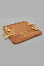 Load image into Gallery viewer, Brown Square Acacia Wooden Tray With Gold Handle