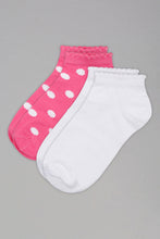 Load image into Gallery viewer, Pink/White Polka Dots Ankle Socks