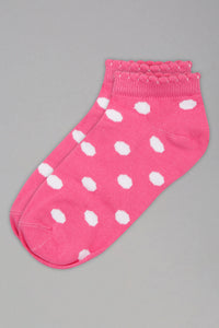 Pink/White Polka Dots Ankle Socks