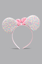 Load image into Gallery viewer, Pink Bow Sequins Ears Headband