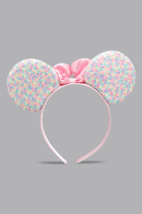 Pink Bow Sequins Ears Headband
