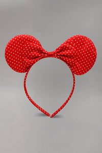 Red Polka Bow And Ears Headband