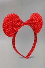 Load image into Gallery viewer, Red Polka Bow And Ears Headband