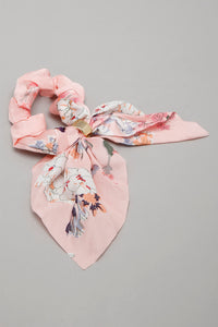 Pink Floral Printed Tail Bow Scrunchie