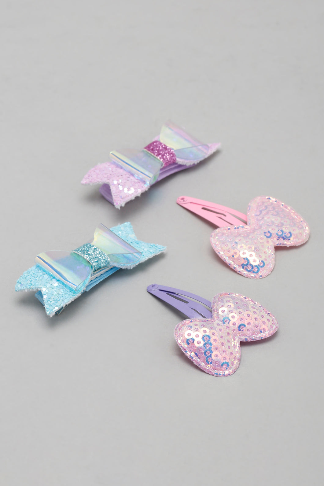Multicolour Glitter Butterfly Snap Hair Clips (Pack of 4)
