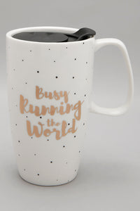 White Busy Running The World Travel Mug