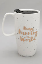 Load image into Gallery viewer, White Busy Running The World Travel Mug