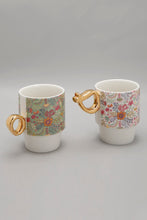 Load image into Gallery viewer, Multi Coloured Floral Stacking Mug Set (2 Piece)