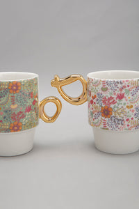 Multi Coloured Floral Stacking Mug Set (2 Piece)