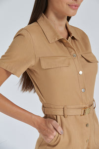 Tan Belted Playsuit