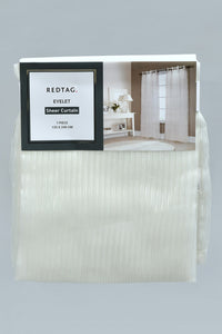 Ivory Stripe Sheer Curtain (2 Piece)