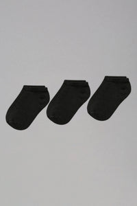 Black Plain Ankle Socks (3-Pack)