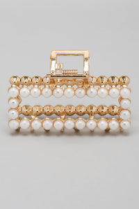 Gold Pearl Embellished Hair Clip