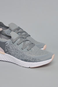 Grey Lace Up Sneaker wth Pink highlight