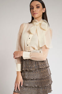 Cream Organza Pussy Bow Blouse