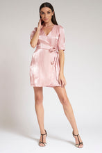 Load image into Gallery viewer, Pink Wrap-Front Shimmer Dress