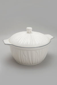 White Porcelain Embossed Tureen With Grey Border