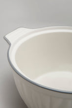 Load image into Gallery viewer, White Porcelain Embossed Tureen With Grey Border