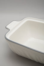 Load image into Gallery viewer, White Porcelain Embossed Rectangle Dish With Grey Border