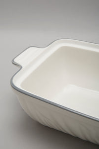 White Porcelain Embossed Rectangle Dish With Grey Border