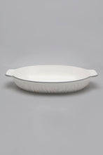 Load image into Gallery viewer, White Porcelain Embossed Oval Dish with Grey Border