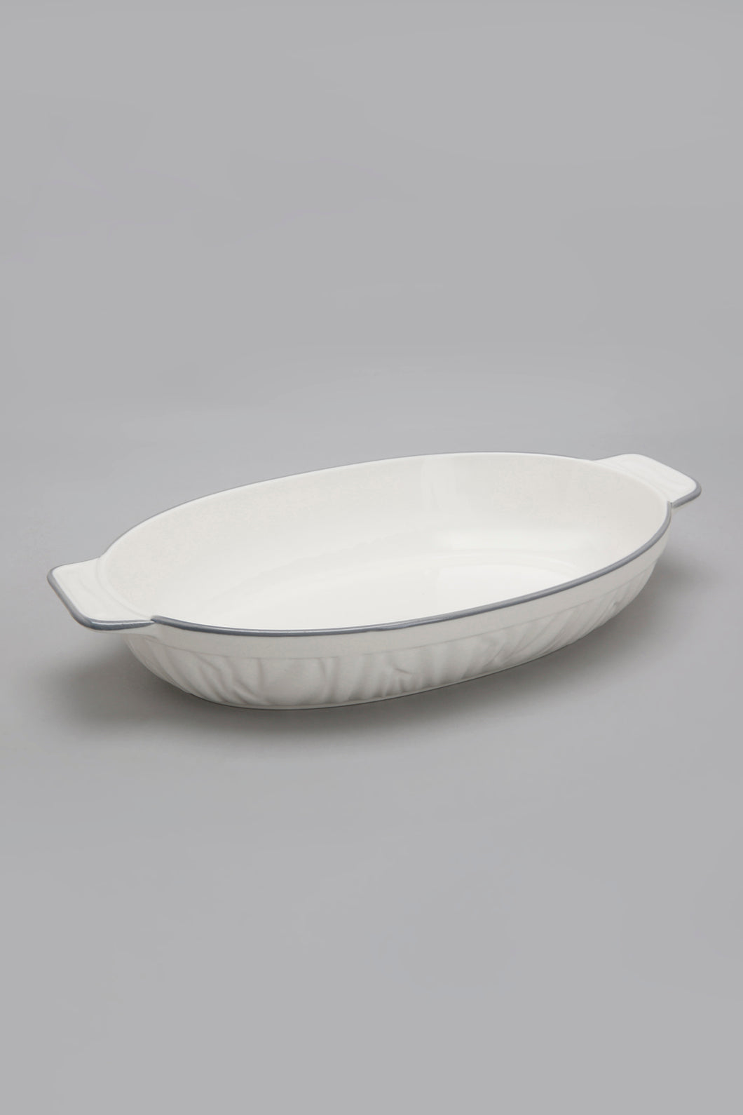 White Porcelain Embossed Oval Dish with Grey Border