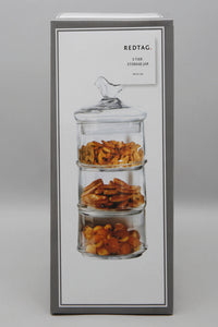 Clear Glass Partition Storage Jar With Bird Lid