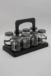 Clear Glass Spice Jar Set (8 Piece)