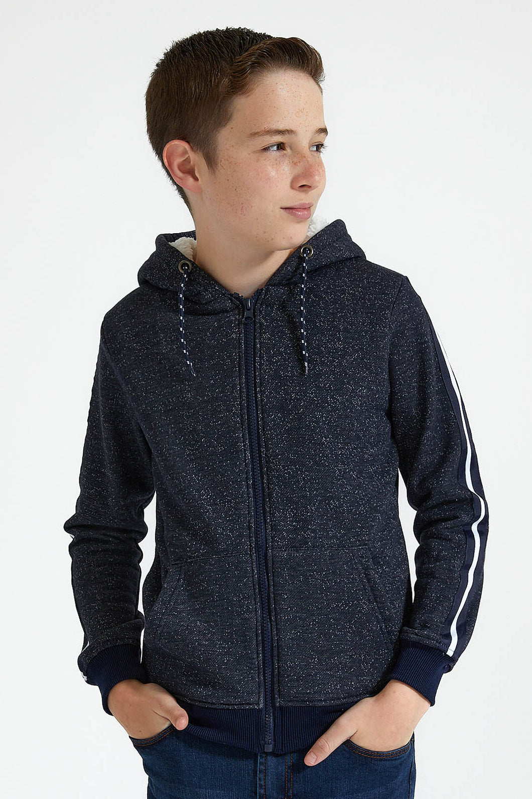 Navy/Grey Front Zip Hooded Sweatshirt