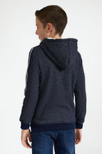 Load image into Gallery viewer, Navy/Grey Front Zip Hooded Sweatshirt