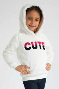 White Cute Fluppy Sweatshirt