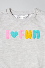 Load image into Gallery viewer, Grey I Love Fun Flock Print Sweatshirt
